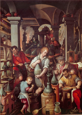 Giovanni Stradano  (Jan van der Straet)  Alchemy Studio, 1571 (Inside the Uffizi Galleria dei Lavori)