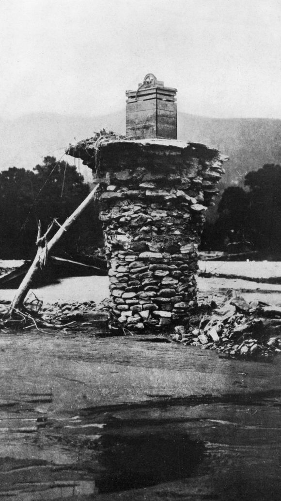 This stacked stone wall of a well near Chimney Rock was completely exposed after the flood of 1916. (Photo: Courtesy Chimney Rock State Park)