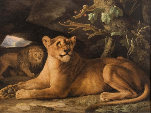 George Stubbs A Lion and a Lioness 1778 Enamel on Wedgwood ceramic The Daniel Katz Gallery London