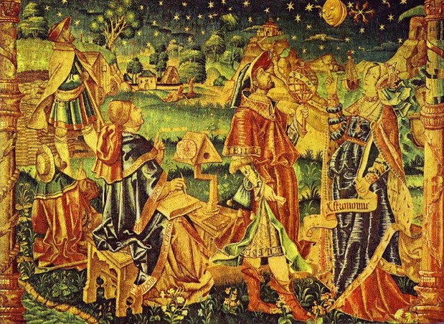 French tapestry from the early 16th century depicting muse Astronomia consulting with an astronomer, possibly Ptolemy.