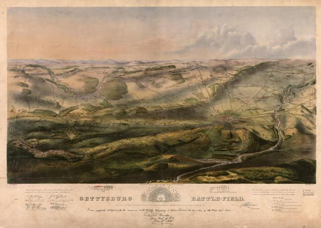 The position of every regiment of both the Union and Confederate armies during all three days of the battle of Gettysburg are depicted on this incredibly detailed map of the battlefield from 1863.  COURTESY LIBRARY OF CONGRESS