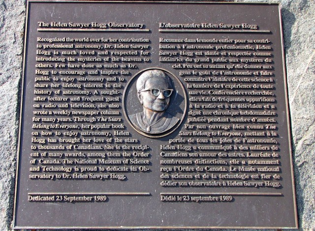 Plaque to Helen Sawyer Hogg at Canada Science and Technology Museum