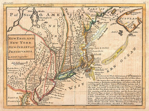 Herman Moll's 1729 map of New England and the adjacent colonies. The map shows few signs of indigenous presence, but a reference to the Iroquois is seen to the far left. Photograph: Wikimedia