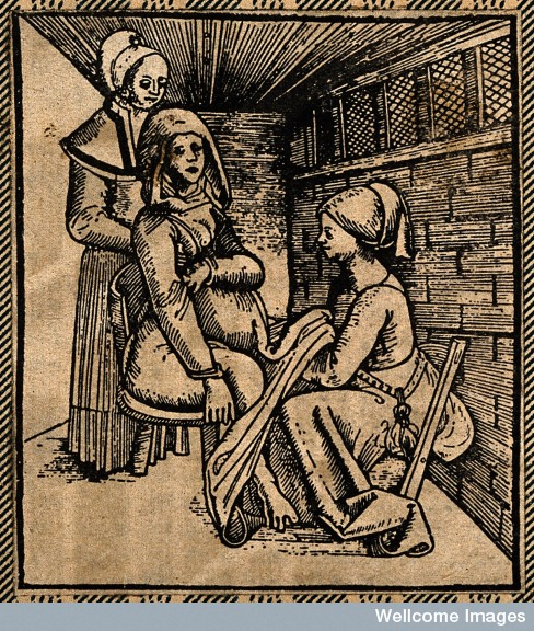 A woman seated on a obstetrical chair giving birth aided by Credit: Wellcome Library, London. Wellcome Images images@wellcome.ac.uk