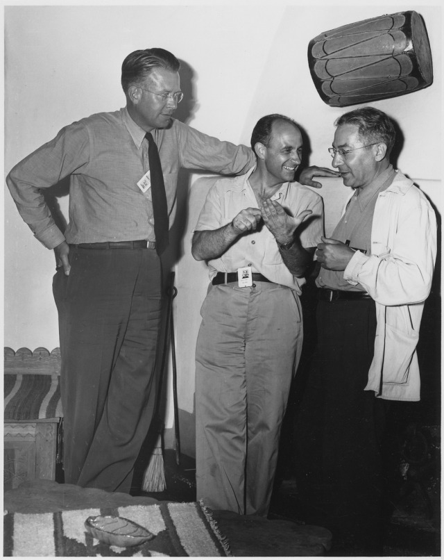 Rabi with fellow Nobel Prize winners Ernest O. Lawrence (left) and Enrico Fermi (centre) Source: Wikimedia Commons