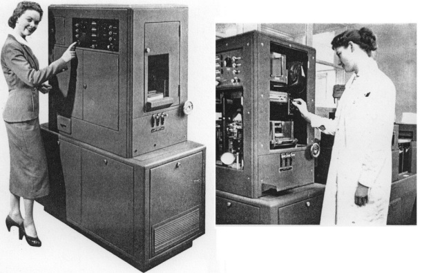 Powers-Samas electronic computers images. (a) The advertisement appeared in the Powers-Samas Magazine May/June 1958 issue (p. 5). (b) The photo of the real female employee operating the Electronic Multiplying Punch (Emp) at LaPorte Industries appeared in the Powers-Samas Magazine June/July 1957 issue (p. 11). (Courtesy of Powers-Samas)