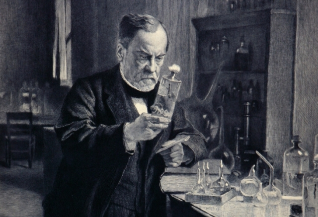 Louis Pasteur pursuing a rabies vaccine in this etching by Léopold Flameng from CHF's collection. Gift of Fisher Scientific International, CHF Collections/Gregory Tobias