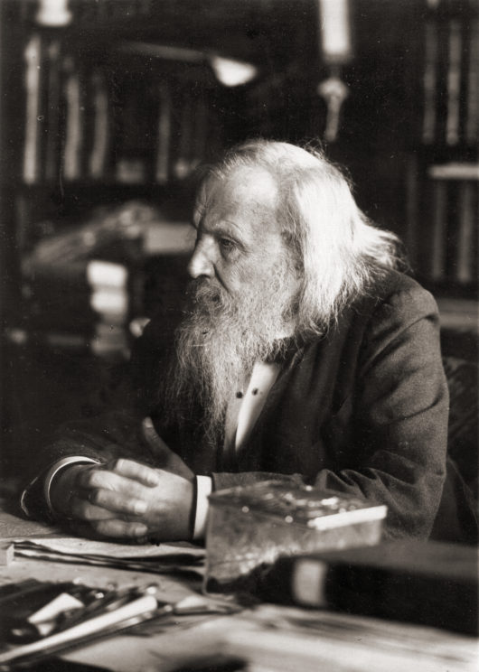 Dimitri Mendeleev is one of the most well-known scientists credited for the discovery of chemical periodicity, though he is not the only to have made this discovery. Image uploaded by Serge Lachinov. Public Domain via Wikimedia Commons.
