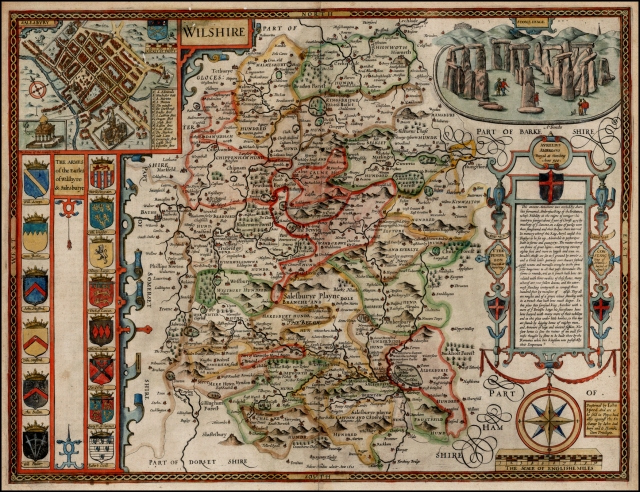 John Speed Wilshire, 1610 with a townplan of Salisbury and a view of Stonehenge Source: Wikimedia Commons