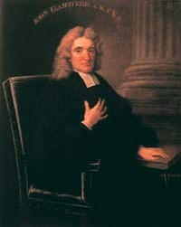 Portrait of John Flamsteed, astronomer - born Denby Derbyshire. Painting by Thomas Gibson. Original with UK Royal Society Source: Wikimedia Commons