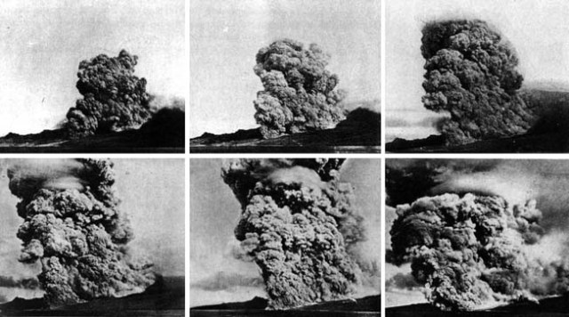 Sequence showing a pyroclastic flow, photographed December 1902 by French volcanologist A. Lacroix (from LACROIX 1904).