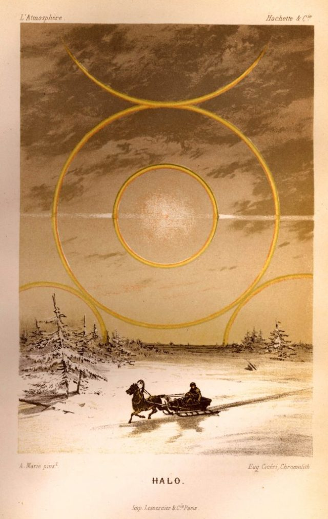 Solar halo in northern latitudes caused by ice crystal refraction. In: L'Atmosphère by Camille Flammarion, 1872. Library Call No. M0030 F581a 1872. NOAA Photo Library