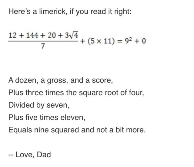 The email I got from my Dad today. You're welcome. Kate Owens (@katemath)