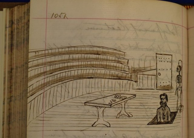 Fab Sketch found in student's notebook (c1868) of Joseph Lister disappearing through a trapdoor after his lecture h/t RCPSG Library