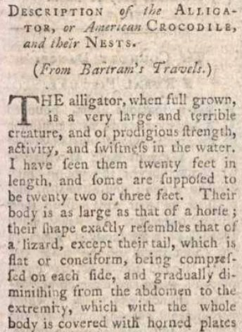 "In 1790s LM was into America. In May 1794 readers learned about the alligator, ""a very large and terrible creature"""