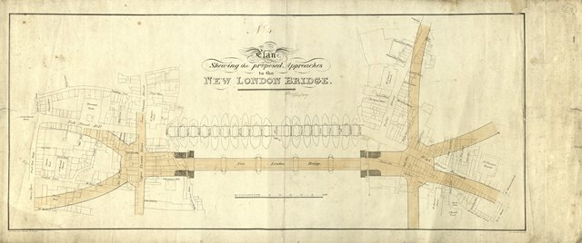 Plan of approaches to new London Bridge, signed J Rennie 1827 ICE Library