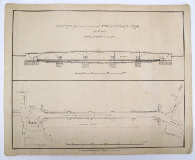 1 August 1831, the New London Bridge opened to traffic. Pic of John Rennie's plan from Science Museum Archive
