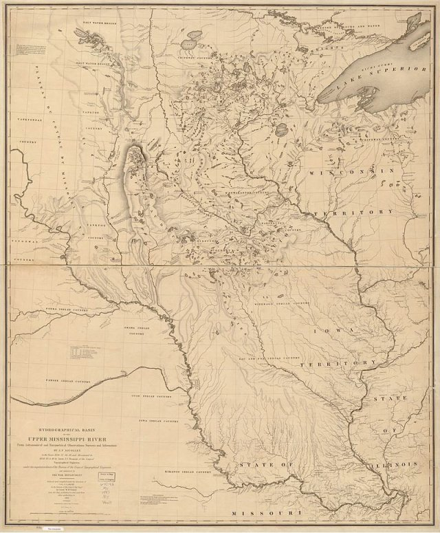 1843 map of the upper Mississippi drawn by astronomer turned explorer Joseph Nicollet h/t Ben Gross (@bhgross)