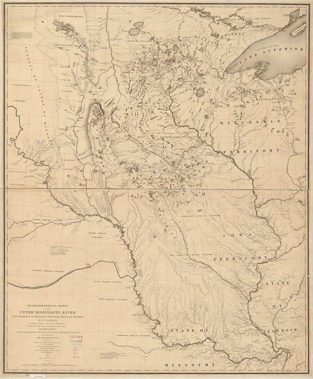 1843 map of the upper Mississippi drawn by astronomer turned explorer Joseph Nicollet h/t Ben Gross (@bhgross)