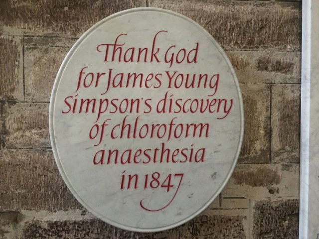 The discovery of chloroform remembered in St Giles Cathedral Edinburgh.