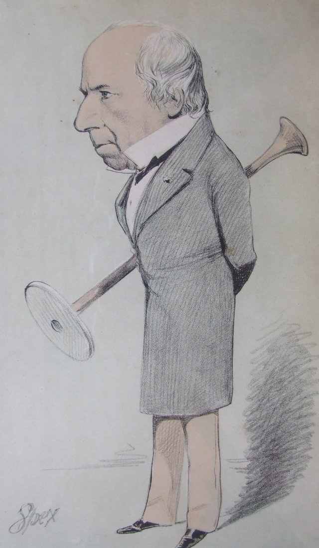 Caricature of Stokes, with his stethoscope by Spex (VM/1/2/S/35)