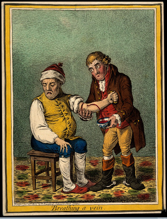 V0011195 An ill man who is being bled by his doctor. Coloured etching Credit: Wellcome Library, London. Wellcome Images images@wellcome.ac.uk http://wellcomeimages.org An ill man who is being bled by his doctor. Coloured etching by J. Sneyd, 1804, after J. Gillray. 1804 By: James Gillrayafter: John SneydPublished: 28 January 1804 Copyrighted work available under Creative Commons Attribution only licence CC BY 4.0 http://creativecommons.org/licenses/by/4.0/