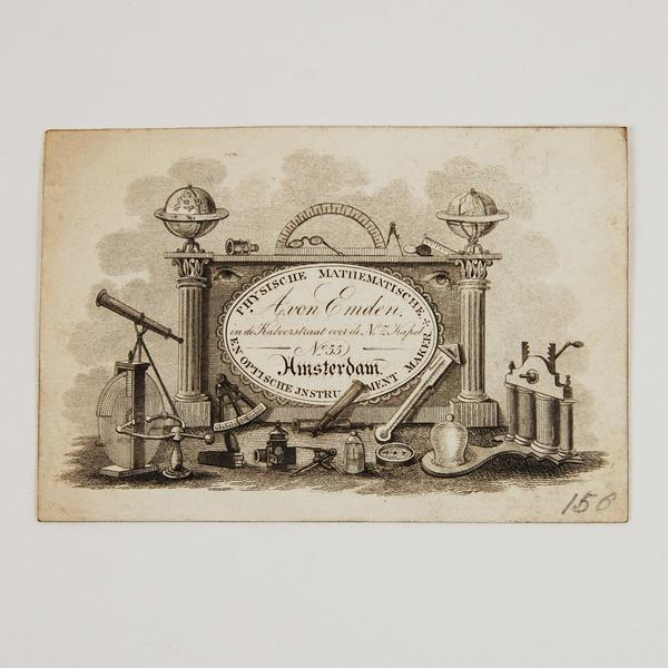 Abraham von Emden Scientific Instruments Trade Card: Alembic Rare Books