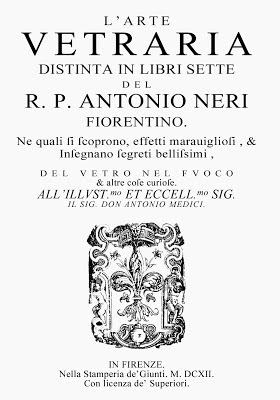 The title page of Antonio Neri's 1612 book L'Arte Vetraria.