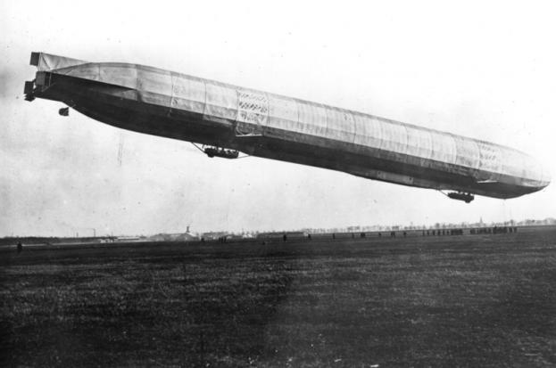c1915: a German zeppelin ascending from its base for a raid on London. (Photo by Hulton Archive/Getty Images)