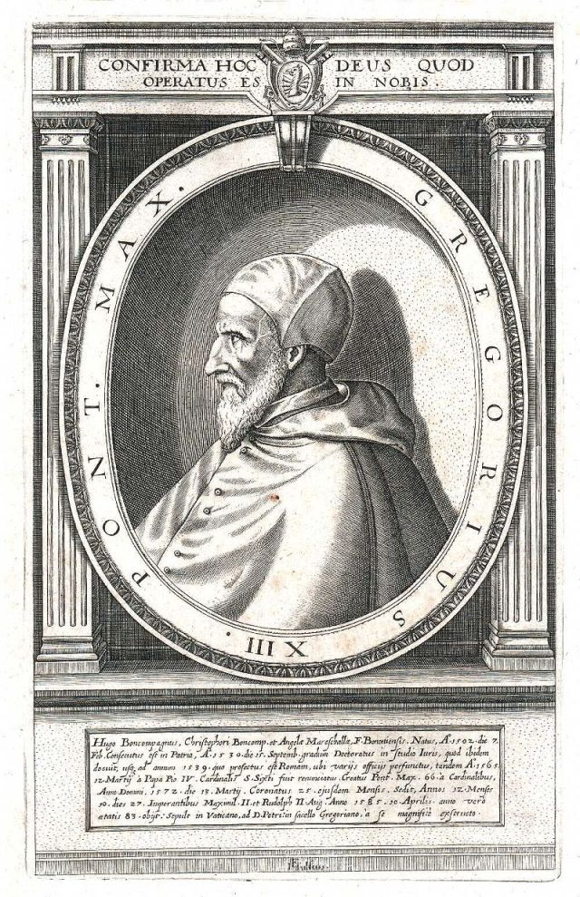 Pope Gregory XIII in an early 17th century engraving. Source: Wikimedia Commons