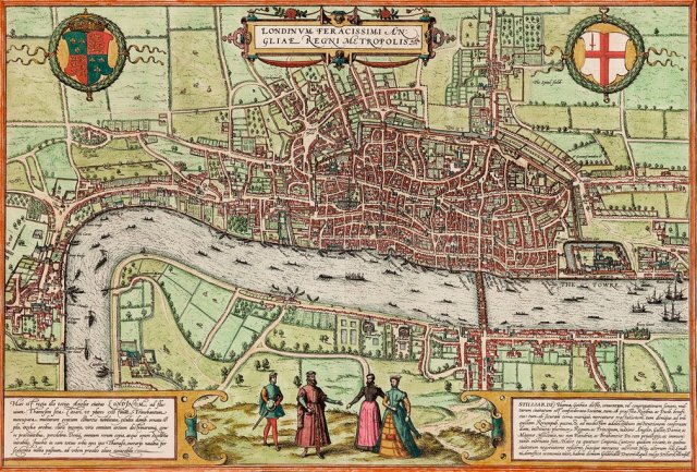 London, 1572 Thought to be the first printed map of London (by Georg Braun and Franz Hogenberg) Source: The Guardian