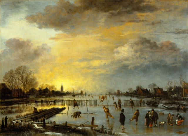 "Art van der Neer's ""Winter Landscape with Ice Skaters at Sunset"""