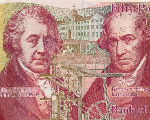 Matthew Boulton was born 3 September 1728. He is featured on the current £50 series F banknote