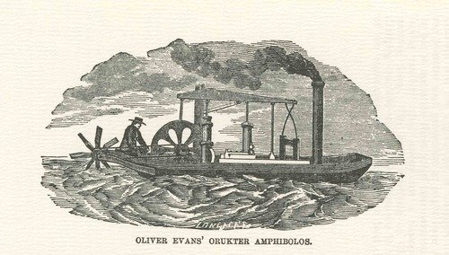 Orukter Amphibolos-an amphibious vehicle designed by inventor Oliver Evans born 13 September1755 h/t Ben Gross (@bhgross)