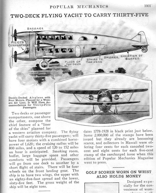 """Double-decker aircraft, """"Popular Mechanics"""", Dec 1928. h/t J F Ptak (@ptak)"""
