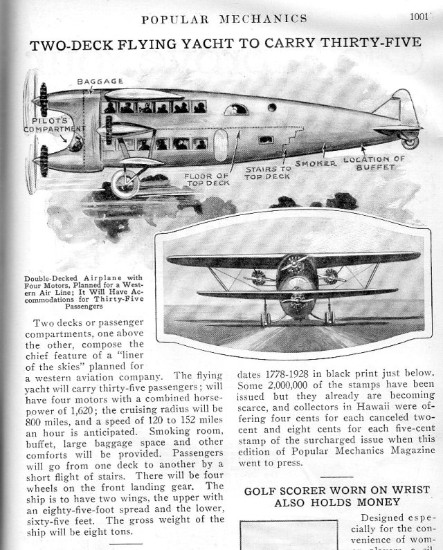 "Double-decker aircraft, ""Popular Mechanics"", Dec 1928. h/t J F Ptak (@ptak)"