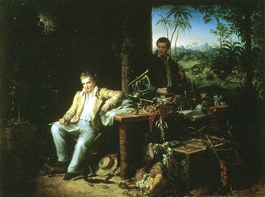 Humboldt and Bonpland in the Amazon rainforest by the Casiquiare River, with their scientific instruments, which enabled them to take many types of accurate measurements throughout their five-year journey. Oil painting by Eduard Ender, 1856. Source: Wikimedia Commons