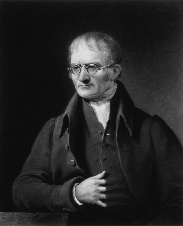British physicist and chemist John Dalton (1766-1844) by Charles Turner (1773-1857) after James Lonsdale (1777-1839). Mezzotint. Source: Wikimedia Commons