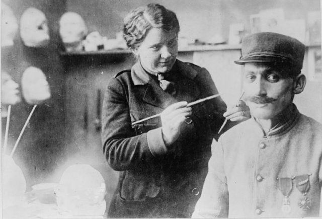 Anna Coleman Ladd working on a mask for a World War I French soldier (via Library of Congress)