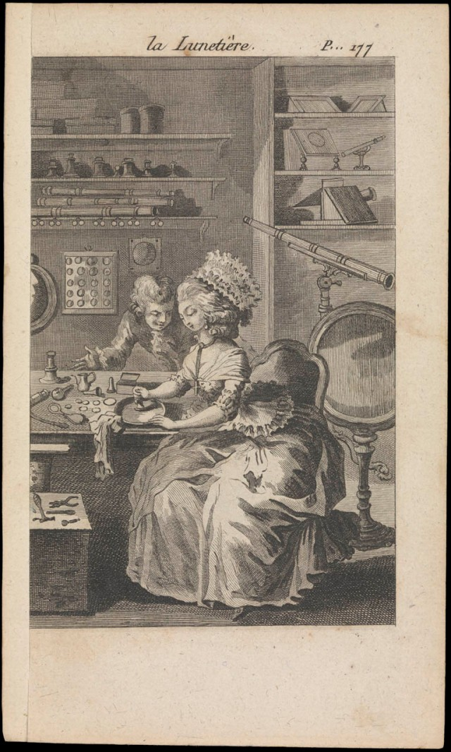 In the 18th century, lens grinding became an appropriate hobby for elegant women Sorce: The Queens House Greenwich
