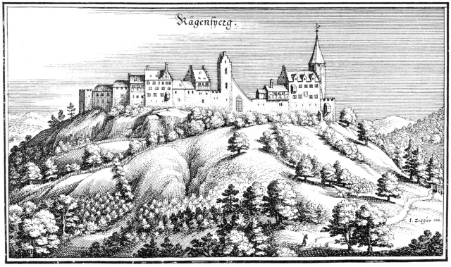 The castle and the town of Regensberg in Topographia Helvetiae, 1645 Source: Wikimedia Commons