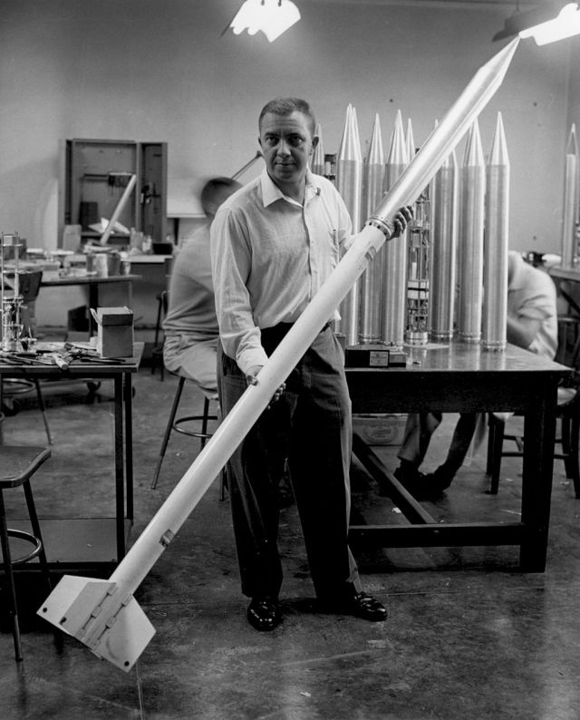 James Van Allen holding (Loki) instrumented Rockoon, Credit: JPL Source: Wikimedia Commons