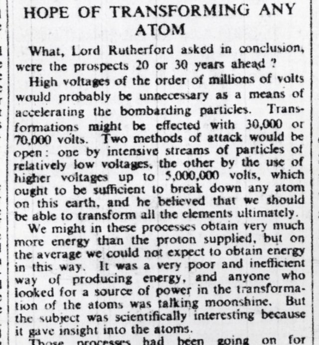 September 12, 1933. London Times reported that Ernest Rutherford dismissed atomic energy as 'moonshine.' h/t @GeneDannen