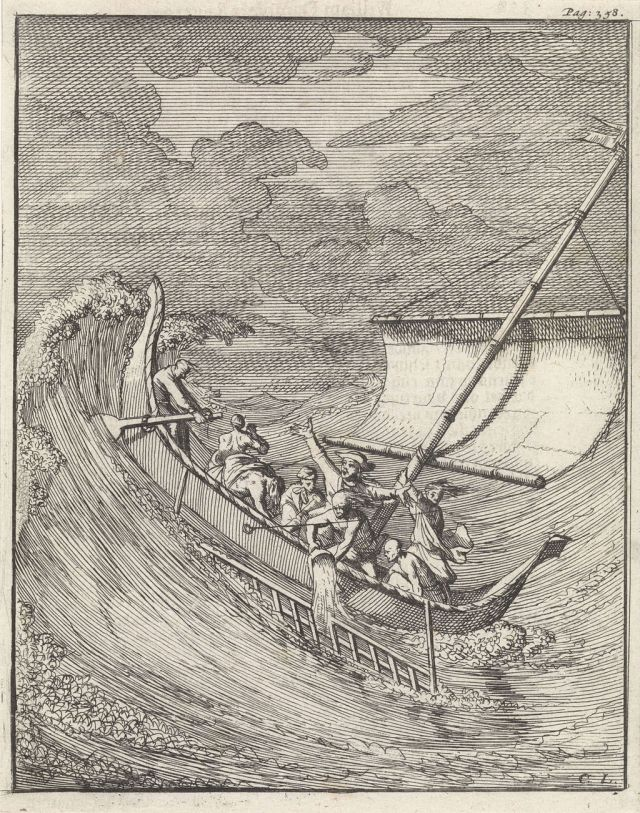 Engraving of Dampier's encounter with the storm off Aceh, by Caspar Luyken. Source: Wikimedia Commons