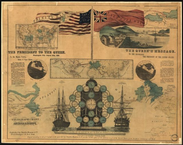 Telegraph chart, America and Europe. (Library of Congress)