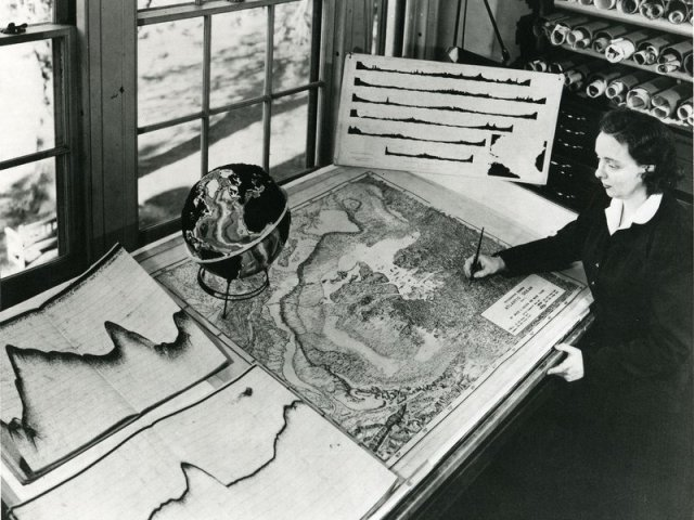 "Marie Tharp's map helped vindicate plate tectonics, but her work was initially dismissed as ""girl talk."" (Lamont-Doherty Earth Observatory and the estate of Marie Tharp)"