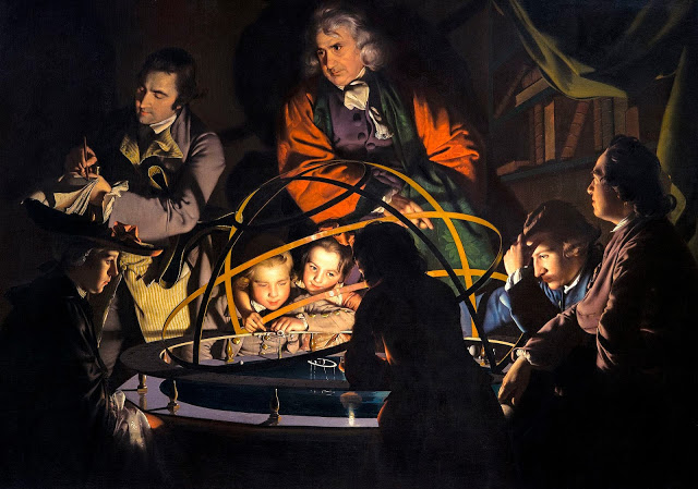 "Joseph Wright of Derby: ""A Philosopher giving a Lecture on the Orrery in which a lamp is put in place of the Sun"" (1766)"