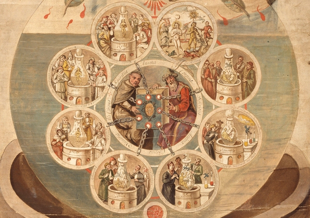 Alchemists Revealing Secrets from the Book of Seven Seals, The Ripley Scroll (detail), ca. 1700. 950053