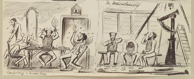 Drawings by Lieutenant E.J.W. Noble capture the annoyances of expeditionary astronomy, from mosquitoes to cleaning screws. Photograph: Cambridge Digital Library/Charlotte Tupman and Cambridge University Library