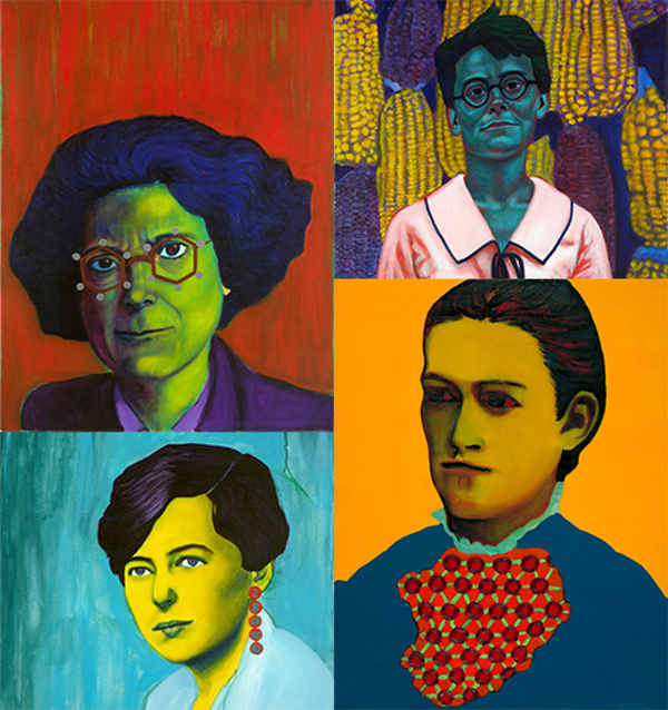 """Kathleen Yardley Lonsdale,"" ""Barbara McClintock,"" ""Agnes Pockels,"" and ""Maria Goeppert-Mayer"" - Jennifer Mondfrans (oil, acrylic, and wax pastel)"